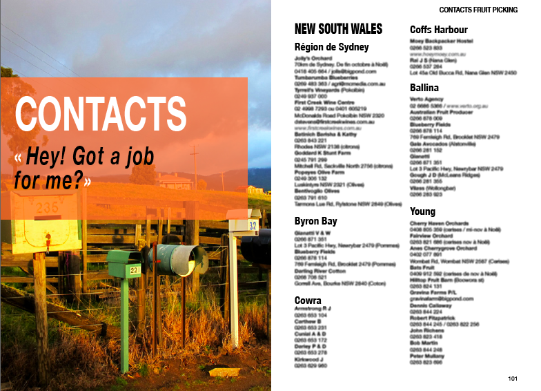 Contacts fermes fruit picking Australie job