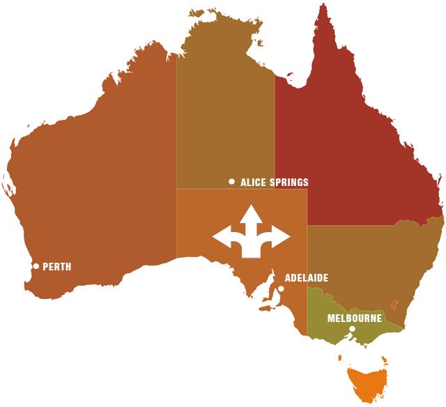south australia map states