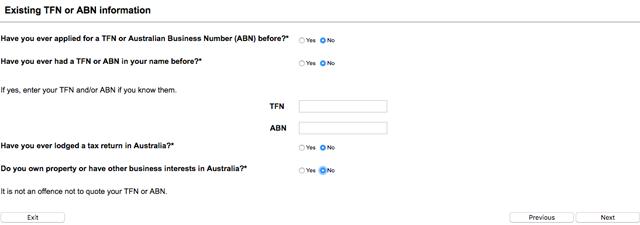 Demande TFN Australie 6