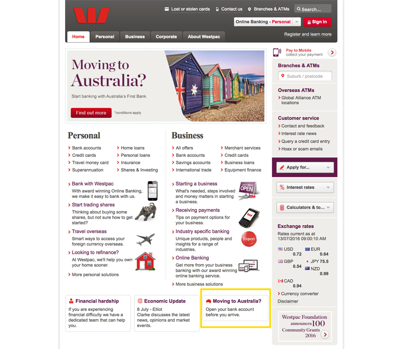 Ouvrir compte westpac 1