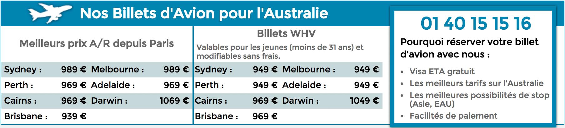 Tarifs billets d'avion australie réduction