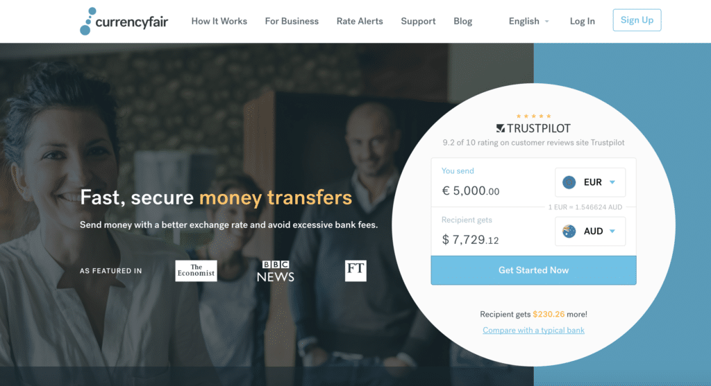 currencyfair transfert argent international