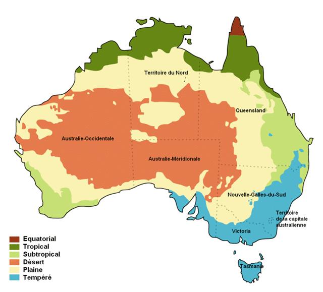 saisons climat australie carte