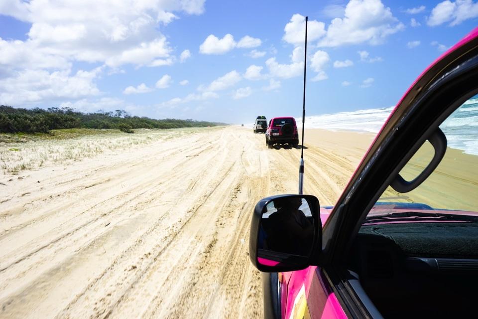 Fraser dingo, 4X4 sur le sable Australie